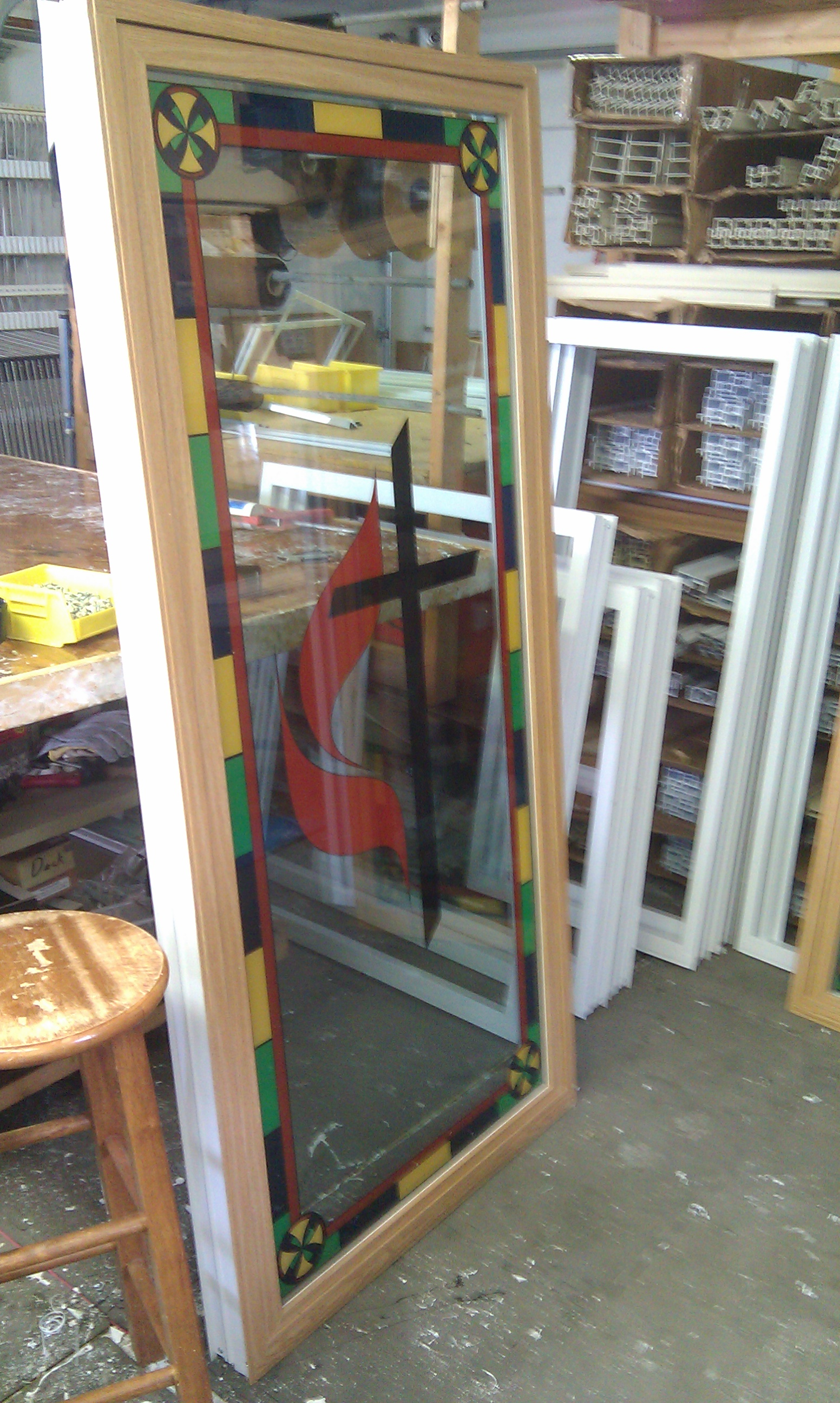 Insulated stained glass. Double pane stained glass. Energy efficient stained glass. Colored cross