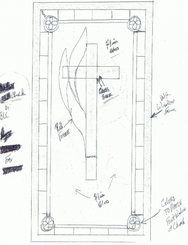 Sketching of the design for the stained glass window